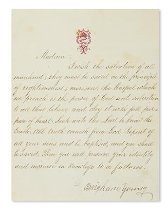 YOUNG, BRIGHAM. Letter Signed, to an unnamed recipient (Madam),