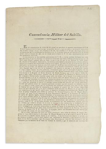 (MEXICO.) Montoya, José Cayetano de. Comandancia Militar del Saltillo.