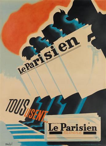 PHILI (PIERRE GRACH, 1898-1987). TOUS LISENT . . . LE PARISIEN LIBÉRÉ. Circa 1944. 61x45 inches, 156x114 cm. Office de Publicite Gener