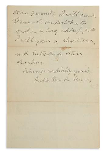 (SUFFRAGISTS.) JULIA WARD HOWE. Autograph Letter Signed, to My dear Miss Ellis, promising to make a short addr...