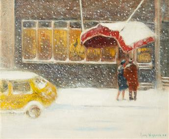 GUY C. WIGGINS Cafe in the Snow.