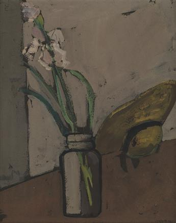 JOSEPH SOLMAN Still Life with Irises and a Yellow Hat.