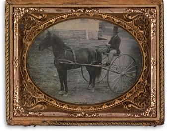 (TRANSPORTATION) Pair of daguerreotypes, comprising a quarter-plate of a top-hatted gentleman in the seat of a wagon and a sixth-plate