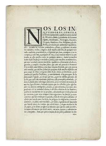 (MEXICAN IMPRINTS--1616.) Inquisitorial edict condemning astrology.