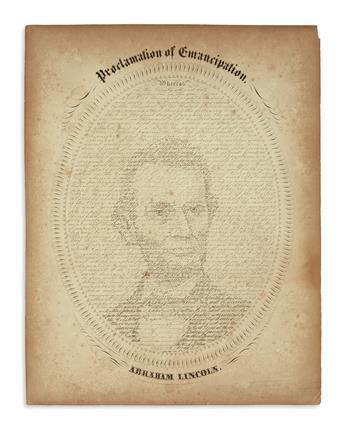 (PRINTS--EMANCIPATION.) Hageboeck, lithographer; after W.H. Pratt. Proclamation of Emancipation--Abraham Lincoln.