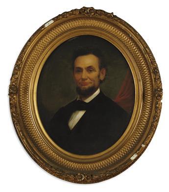 (LINCOLN, ABRAHAM.) [Wilson, Matthew Henry; artist.] Large oil portrait of Lincoln.