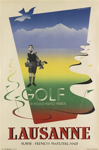 JEAN WALTHER (1910-1968). GOLF / LAUSANNE. 1947. 39x25 inches, 99x64 cm. R. Marsens, Lausanne.