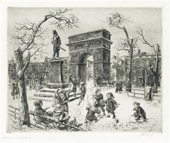 JOHN SLOAN Sculpture in Washington Square.