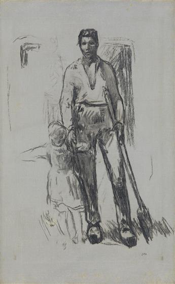 JEAN-FRANÇOIS MILLET Paysan debout et Enfant.