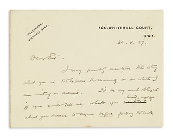 WELLS, H.G. Autograph Letter Signed, to London bookseller Townley Searle (Dear Sir),