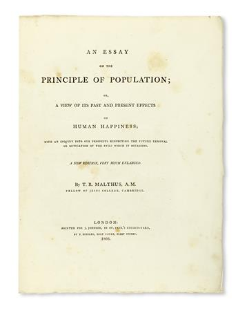 MALTHUS, THOMAS ROBERT. An Essay on the Principle of Population . . . New Edition, very much enlarged.  1803
