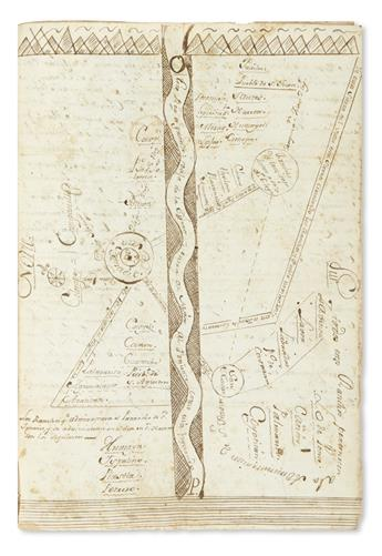 (MEXICAN MANUSCRIPTS.) Jurisdictional dispute and map from northwestern Mexico.