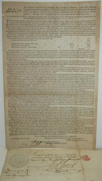 VARICK, RICHARD. Two Documents Signed, Richd Varick, as Mayor of New York City.