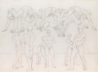 JARED FRENCH Study for Standing and Leaping Men.