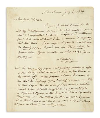 WEBSTER, NOAH. Autograph Letter Signed, N Webster, to Washington publishers Gales & Seaton,