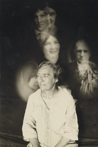 (SPIRIT PHOTOGRAPHS) A collection with 7 spookily rendered spirit photographs depicting sitters among shrouds of floating photographic