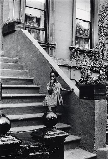 LOUIS H. DRAPER (1935 - 2002) Untitled (Young Girl on Brownstone Steps).