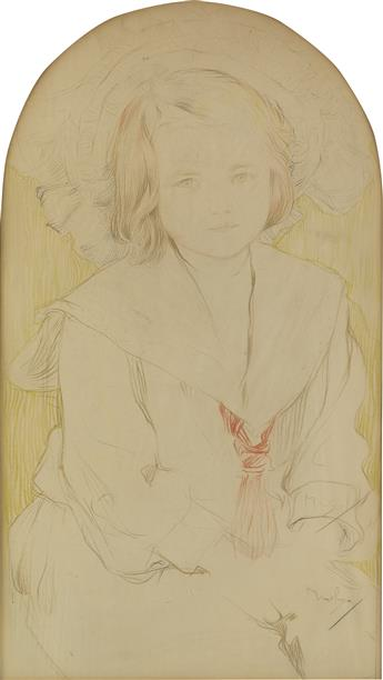 ALPHONSE MUCHA (1860-1939). [PORTRAIT OF A CHILD IN LARGE HAT AND SAILOR BLOUSE.] Crayon drawing. 20x11 inches, 52x29 cm.