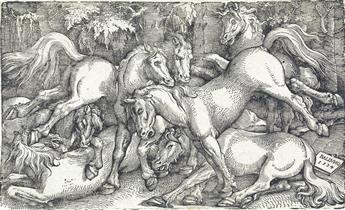 HANS BALDUNG GRIEN Group of Seven Wild Horses.