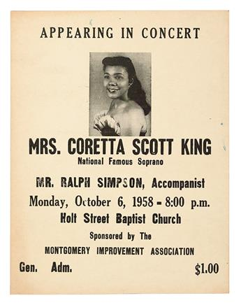 (CIVIL RIGHTS--KING, MARTIN LUTHER JR.) Montgomery Improvement Association Appearing in Concert Mrs. Coretta Scott King, National Famo