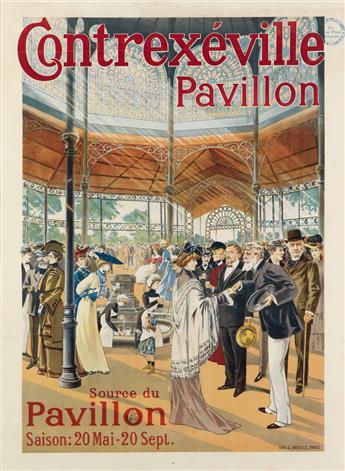DESIGNER UNKNOWN. CONTREXÉVILLE PAVILLON. Circa 1890s. 37x27 inches, 94x68 cm. G. Bataille, Paris.