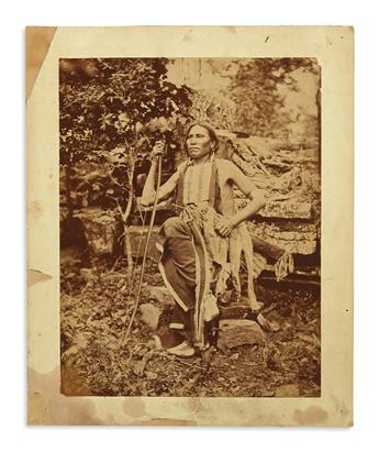 (AMERICAN INDIANS--PHOTOGRAPHS.) Hillers, John K.; photographer. Large portrait of Little Bear of the Cheyennes.