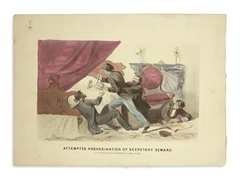 (PRINTS--ASSASSINATION.) Group of 9 unframed prints of Lincolns assassination, deathbed, and funeral.