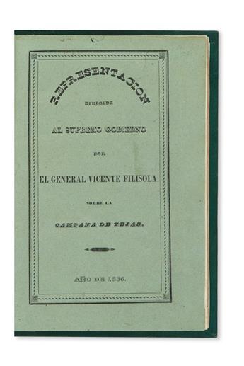 (TEXAS.) Filisola, Vicente. Representacion dirigida al Supremo Gobierno . . . en defensa de su honor y aclaracion de sus operaciones