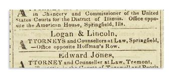 (EPHEMERA.) Group of 4 newspapers and a magazine relating to Lincolns early career.