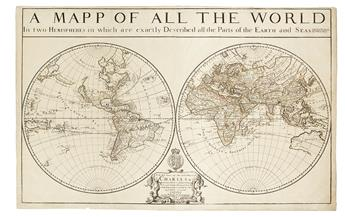 BERRY, WILLIAM. A Mapp of All the World in two Hemispheres in which are exactly Described all the Parts of the Earth and Seas.