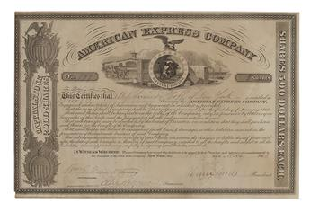 (BUSINESS.) WELLS, HENRY; AND WILLIAM GEORGE FARGO. Partly-printed Document Signed, by both (Henry Wells, as President, and WmG. Far