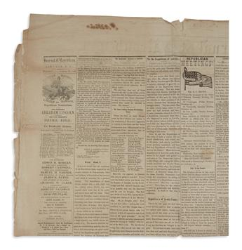 (EPHEMERA.) Group of 18 New York newspapers from Lincolns first presidential campaign and inauguration.