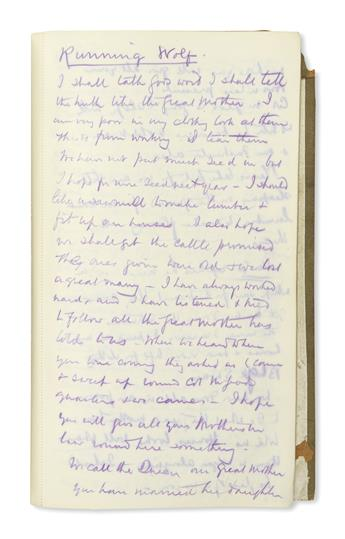 (AMERICAN INDIANS.) Winton, Francis W. de. Notes on pow-wows with Indians during an official tour of western Canada, with his diary.