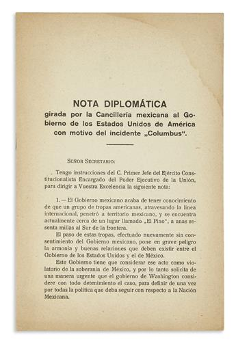 """(MEXICO.) Nota diplomática girada por la Cancillería Mexicana . . . con motivo del incidente """"Columbus."""""""