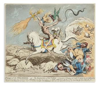 GILLRAY, JAMES. Presages of the Millenium;__With__the Destruction of the Faithful.