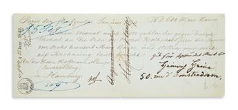 HEINE, HEINRICH. Two items: Autograph Endorsement Signed * Fragment of an Autograph Letter, unsigned.