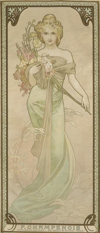 ALPHONSE MUCHA (1860-1939). [THE SEASONS.] Four decorative panels on silk. 1900. Each 27x12 inches, 70x31 cm. F. Champenois, Paris.