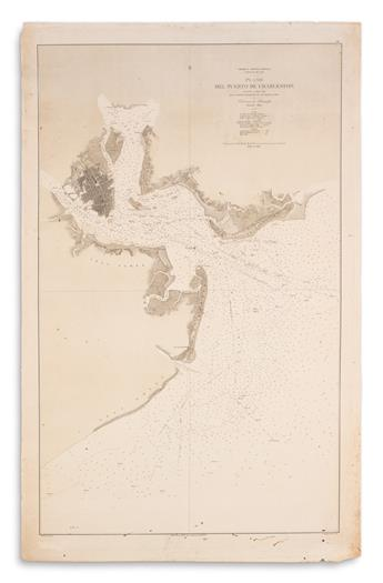 (CHARLESTON.) Direccion de Hidrografia. America Septentrional Carolina del Sur. Plano del Puerto de Charleston.