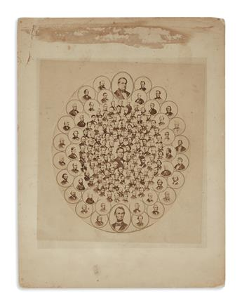 (PHOTOGRAPHY.) Composite photograph of the signers of the 13th Amendment, which banned slavery.