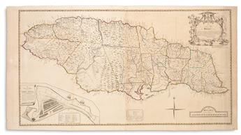 BROWNE, PATRICK. A New Map of Jamaica, In Which the Several Towns, Forts, and Settlements are Accurately Laid Down...
