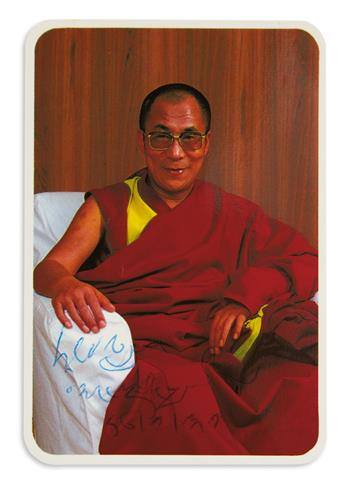 DALAI LAMA; 14TH. Small color Photograph Signed and dated,