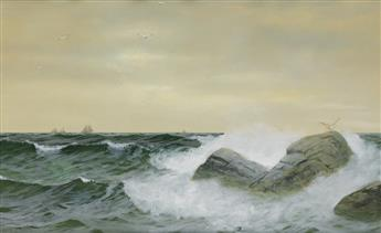 WILLIAM TROST RICHARDS Stormy Sea with Sailboats on the Horizon.