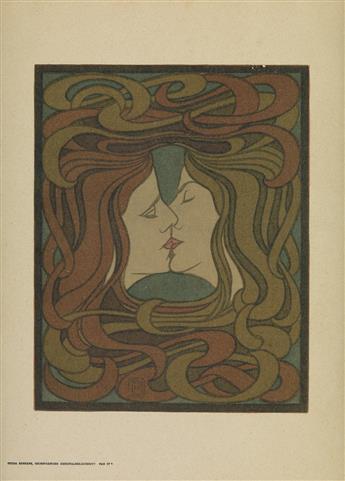 PETER BEHRENS (1868-1940). [DER KUSS.] 1898. 14x11 inches, 37x28 cm.