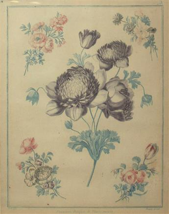 (BOTANICAL.) Bonnet, Louis Marin. Group of 3 color-printed chalk manner and stipple engraved floral bouquets