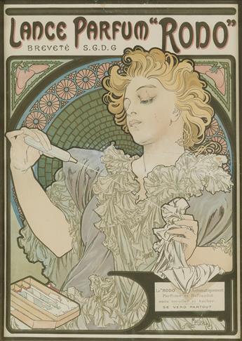 ALPHONSE MUCHA (1860-1939). LANCE PARFUM RODO. 1896. 16x12 inches, 42x30 cm. F. Champenois, Paris.