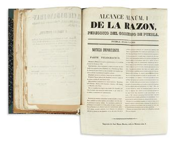 (MEXICO.) Bound collection of broadsides and pamphlets issued by the federal government and Puebla.