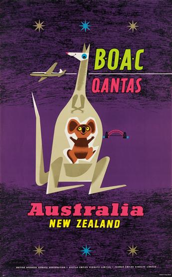 MAURICE LABAN (1912-1970). BOAC QANTAS / AUSTRALIA NEW ZEALAND. 1957. 40x25 inches, 101x63 cm.