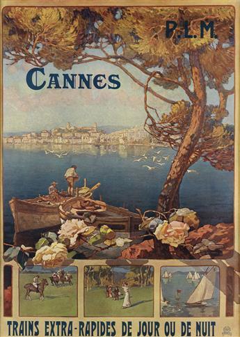 FRANCIS DI SIGNORI (DATES UNKNOWN). CANNES P.L.M. Circa 1910. 40x28 inches, 101x72 cm. Robaudy, Cannes.