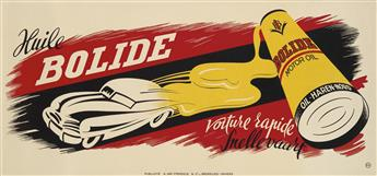 DESIGNER UNKNOWN. HUILE BOLIDE / VOITURE RAPIDE. 23x49 inches, 59x126 cm. A. Van Ypersele & Co., Brussels.