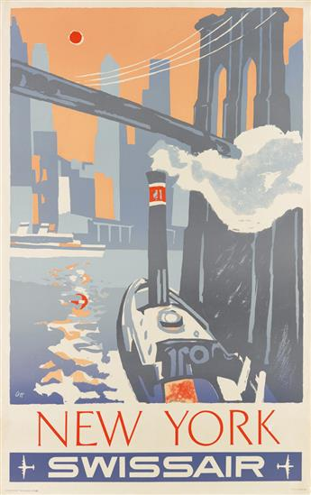 HENRI OTT (1919-?). NEW YORK SWISSAIR. 1951. 40x25 inches, 101x63 cm. Bollman, Zurich.